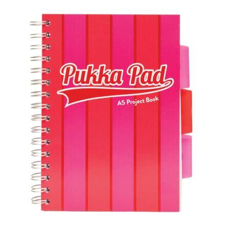 Spirálfüzet PUKKA PAD Vogue regiszteres A/5 100 lapos vonalas rózsaszín
