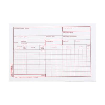 Nyomtatvány raktári nyilvántartó karton A/5 1000 db/csomag