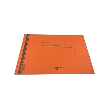 Nyomtatvány raktári számú szigorú nyomtatványok nyilvántartója A/4 25 lapos fekvő