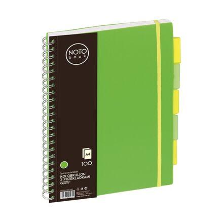 Spirálfüzet regiszteres GRAND A/4 kockás 100 lapos zöld
