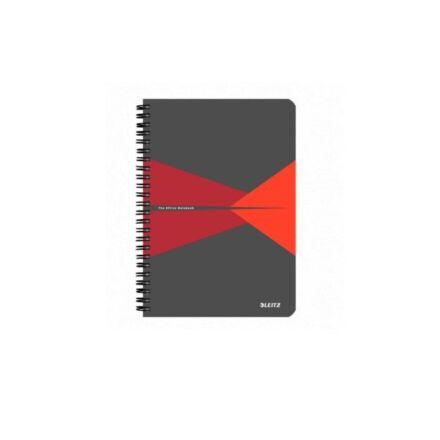 Spirálfüzet LEITZ Office A/5 PP borítóval 90 lapos vonalas piros