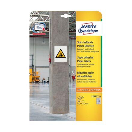 Etikett AVERY L7873-20 45,7x21,2mm extra erős tapadású fehér 960 címke/doboz20 ív/doboz