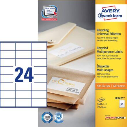 Etikett AVERY LR3475 70x36 mm környezetbarát 2400 címke/doboz 100 ív/doboz