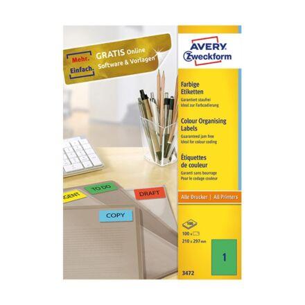 Etikett AVERY 3472 210x297 mm zöld univerzális 100 címke/doboz 100 ív/doboz