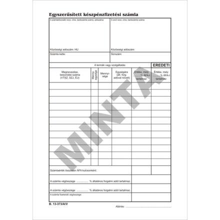 Nyomtatvány készpénzfizetési számlatömb  VECTRA-LINE 50x3 álló 2 áfás