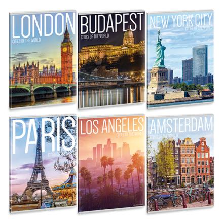 Füzet ARS UNA A/5 40 lapos Extra kapcsos sima  Cities of the world 21