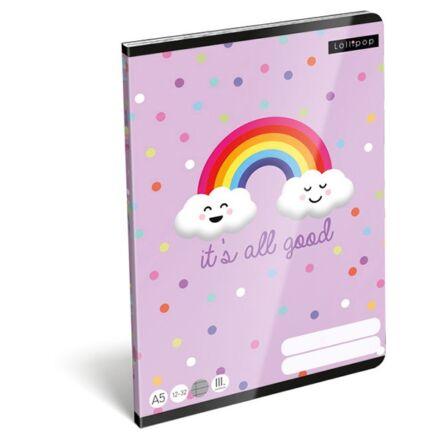 Füzet LIZZY CARD A/5 32 lapos vonalas 12-32 III. osztályos It`s all good