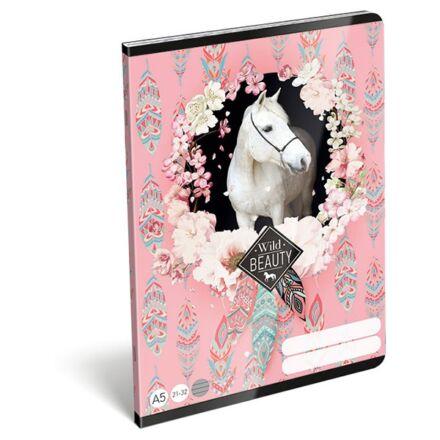 Füzet LIZZY CARD A/5 32 lapos vonalas 21-32 rose fehér lovas