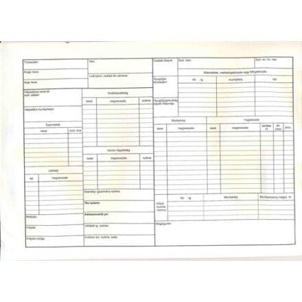 Nyomtatvány személyi nyilvántartó tasak
