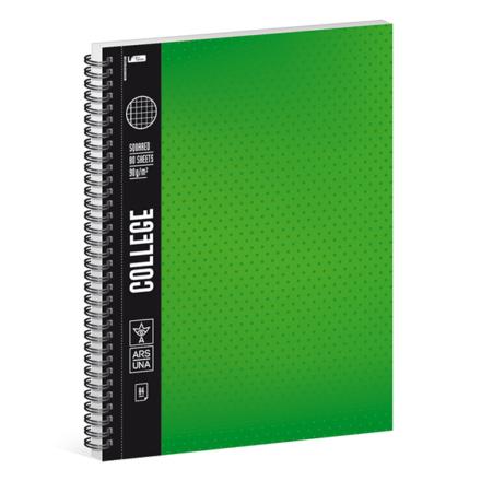 Spirálfüzet ARS UNA College A/4 80 lapos kockás zöld