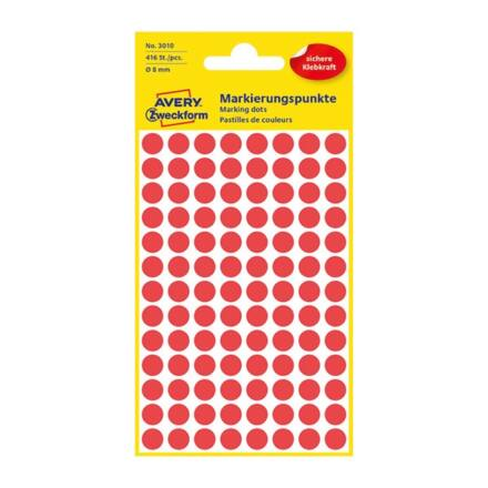 Etikett AVERY 3010 jelölőpont 8mm piros 416 db/csomag