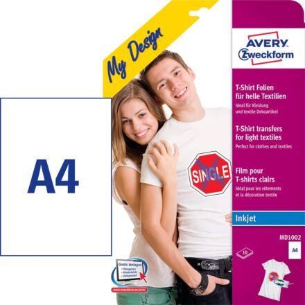 Etikett AVERY MD1002 világos pólóra vasalható 10 ív/csomag