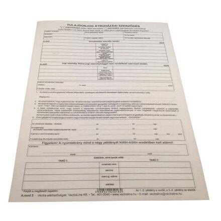 Nyomtatvány adásvételi szerződés személygépkocsihoz A/4 4 példányos új