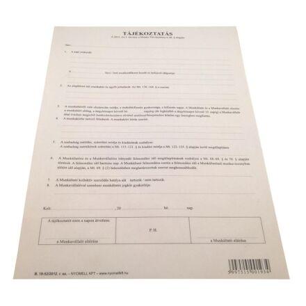Nyomtatvány tájékoztatás (munkaszerződéshez) új 2012