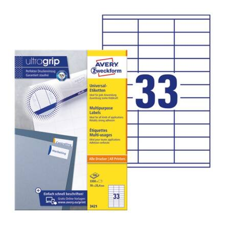 Etikett AVERY 3421 70x25,4mm univerzális fehér 3300 címke/doboz 100 ív/doboz