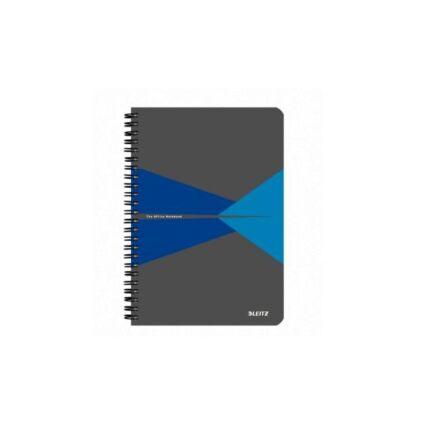 Spirálfüzet LEITZ Office A/4 PP borítóval 90 lapos kockás kék