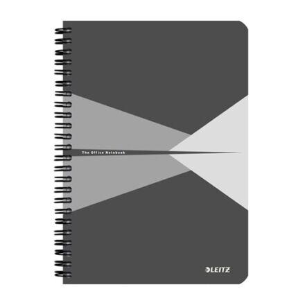 Spirálfüzet LEITZ Office A/5 karton borítóval 90 lapos vonalas szürke