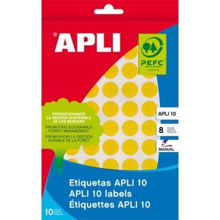 Etikett APLI kör 10mm sárga kézzel írható 1008 etikett/csomag